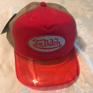 VON DUTCH UV VISOR UNISEX HAT | red & tan